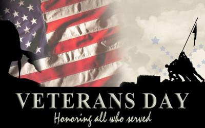 Veteran's Day November 11th Town Hall Closed November 13th